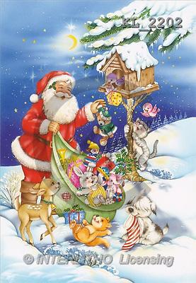 Interlitho, Michele, CHRISTMAS SANTA, SNOWMAN, paintings, santa, bird house(KL2202,#X#) Weihnachtsmänner, Schneemänner, Weihnachen, Papá Noel, muñecos de nieve, Navidad, illustrations, pinturas