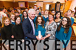 Atlanta Kennedy, attending Mercy Mounthawk Secondary School, Tralee, collecting first prize from Fionnbarr and Elma Walsh  in the  2015 Donal Walsh Live Life Film awards Competition 2015.