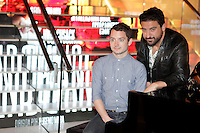 (L-R) Actor Elijah Wood and Spanish director Eugenio Mira attend 'Grand Piano' photocall at the Telefonica Gran Via Store on October 15, 2013 in Madrid, Spain. (ALTERPHOTOS/Victor Blanco)