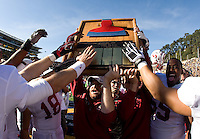 Berkeley, CA - October 20th, 2012: Stanford players celebrating The Big Game Axe after defeating California at Memorial Stadium in Berkeley, California.   Stanford won, 21-3.