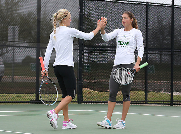 DENTON, TX - APRIL 5: Danè Joubert and Agustina Valenzuela at Waranch Tennis Center in Denton on April 5, 2014 in Denton, Texas. Photo by Rick Yeatts