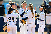 13 February 2010:  FIU's Jennifer Gnaidek (18)(center) celebrates with teammates as the FIU Golden Panthers defeated the Southern Illinois Salukis, 10-6, at the University Park Stadium in Miami, Florida.