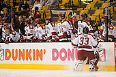 Justin Tobe (Harvard - 33) - Brendan Byrne (Harvard - 29), Mike Taylor (Harvard - 23), Steve Mandes (Harvard - 16), Doug Rogers (Harvard - 15), Dave MacDonald (Harvard - 14), Ian Tallett (Harvard - 8), ?, ?, Mike Coskren (Harvard - 30) - The Northeastern University Huskies defeated the Harvard University Crimson 3-1 in the Beanpot consolation game on Monday, February 12, 2007, at TD Banknorth Garden in Boston, Massachusetts.