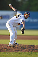 Burlington Bees Tyler Watson (28) throws during the Midwest League game against the Peoria Chiefs at Community Field on June 8, 2016 in Burlington, Iowa.  Burlington won 4-2.  (Dennis Hubbard/Four Seam Images)