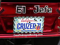 Jun 9, 2017; Englishtown , NJ, USA; Detailed view of the license plate on the car of NHRA funny car driver Cruz Pedregon during qualifying for the Summernationals at Old Bridge Township Raceway Park. Mandatory Credit: Mark J. Rebilas-USA TODAY Sports