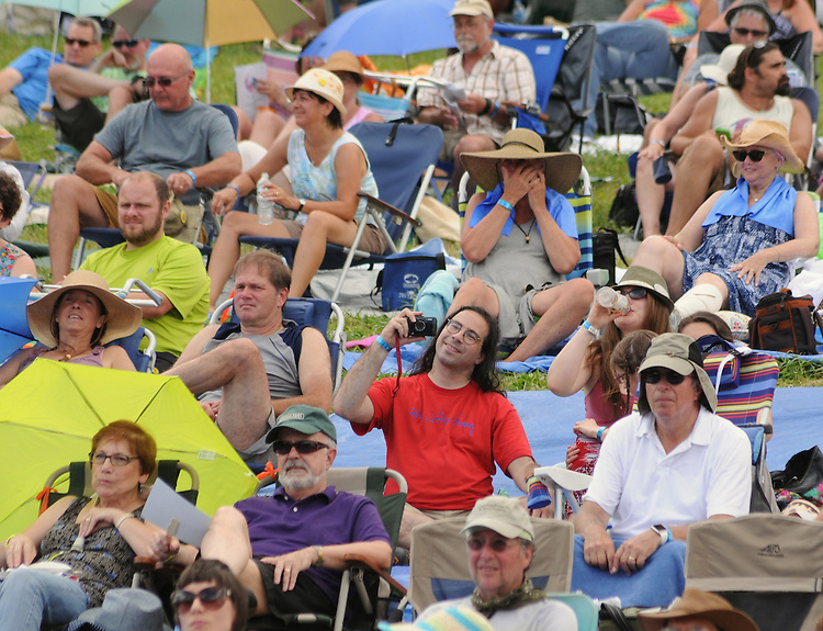 Members of the audience at the Main Stage at the Falcon Ridge Folk Festival, held on Dodd's Farm in Hillsdale, NY on Saturday, August 1, 2015. Photo by Jim Peppler. Copyright Jim Peppler 2015.