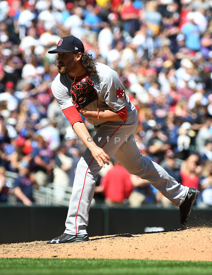 MINNEAPOLIS MN - May 7, 2017: Heath Hembree #37 of the Boston Red Sox during a game against the Minnesota Twins on May 7, 2017 at Target Field in Minneapolis, MN. The Red Sox beat the Twins 17-6.(David Durochik/ SportPics)