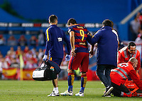 FC Barcelona´s Uruguayan forward Luis Suarez retires hurt during the Final of Copa del Rey match between FC Barcelona and SevillaFC at the Vicente Calderon Stadium in Madrid, Sunday, May 22, 2016.