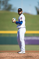 Mesa Solar Sox starting pitcher Erick Leal (40), of the Chicago Cubs organization, gets ready to deliver a pitch during an Arizona Fall League game against the Peoria Javelinas at Sloan Park on November 6, 2018 in Mesa, Arizona. Mesa defeated Peoria 7-5 . (Zachary Lucy/Four Seam Images)