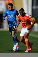 Blackpool's Keshi Anderson under pressure from Swindon Town's Jonny Smith<br /> <br /> Photographer Kevin Barnes/CameraSport<br /> <br /> The EFL Sky Bet League One - Blackpool v Swindon Town - Saturday 19th September 2020 - Bloomfield Road - Blackpool<br /> <br /> World Copyright © 2020 CameraSport. All rights reserved. 43 Linden Ave. Countesthorpe. Leicester. England. LE8 5PG - Tel: +44 (0) 116 277 4147 - admin@camerasport.com - www.camerasport.com
