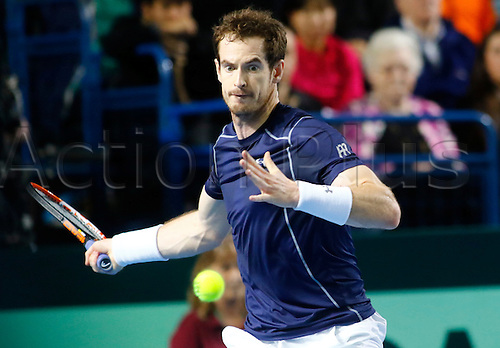 06.03.2016. Barclaycard Arena, Birmingham, England. Davis Cup Tennis World Group First Round. Great Britain versus Japan. Great Britain's Andy Murray hits a forehand during his singles match against Japan's Kei Nishikori on day 3 of the tie.  Murray won in five sets.