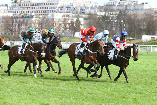 27.03.2016. Auteuil,  Route des Lacs in Paris, France.  Virelan Hurdle (4YO only)  James Reveley wins on Protek des Flos (1) - Kevin Nabet - Saint Goustan Blue (3)