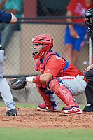 Philadelphia Phillies catcher Rafael Marchan (6) awaits the pitch during an Instructional League game against the Atlanta Braves on October 9, 2017 at the Carpenter Complex in Clearwater, Florida.  (Mike Janes/Four Seam Images)