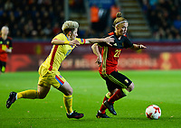 20171020 - LEUVEN , BELGIUM : Belgian Laura Deloose (r) pictured in a duel with Romanian Andreea Voicu (left) during the female soccer game between the Belgian Red Flames and Romania , the second game in the qualificaton for the World Championship qualification round in group 6 for France 2019, Friday 20 th October 2017 at OHL Stadion Den Dreef in Leuven , Belgium. PHOTO SPORTPIX.BE | DAVID CATRY
