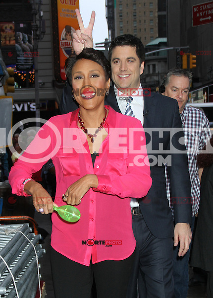 May 04, 2012 Robin Roberts, Josh Elliot host of  Good  Morning America in New York City.Credit:RWMediapunchinc.com