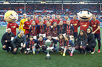 San Miguel Doneztebe team and titular team Osasuna during the Spanish football of La Liga 123, match between CA Osasuna and  RCD Mallorca at the Sadar stadium, in Pamplona (Navarra), Spain, on Sunday, January 20, 2019.