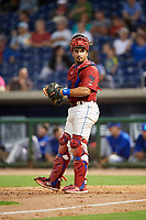 Clearwater Threshers catcher Edgar Cabral (30) looks into the dugout during a game against the Dunedin Blue Jays on April 6, 2018 at Spectrum Field in Clearwater, Florida.  Clearwater defeated Dunedin 8-0.  (Mike Janes/Four Seam Images)