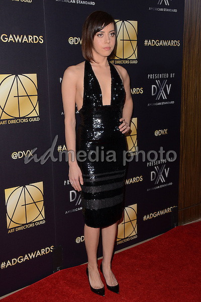31 January  - Beverly Hills, Ca - Aubrey Plaza. Arrivals for the Art Director's Guild 20th Annual Production Design Awards held at Beverly Hilton Hotel. Studios. Photo Credit: Birdie Thompson/AdMedia