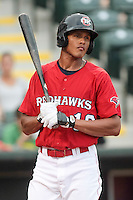 Justin Maxwell (16) of the Oklahoma City RedHawks at bat during the Pacific Coast League game against the Round Rock Express at Chickashaw Bricktown Ballpark on June 14, 2013 in Oklahoma City ,Oklahoma.  (William Purnell/Four Seam Images)