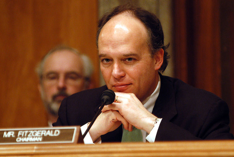 korea4/052003 -  Chairman Peter Fitzgerald, R-Il., at a Committee on Government Affairs International Security subcommittee hearing on North Korean drugs, counterfeiting, and weapons proliferation.