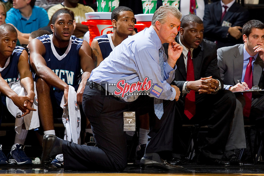UNC-Wilmington Seahawks head coach Buzz Peterson watches the action from the sidelines during first half action against the Wake Forest Demon Deacons at the LJVM Coliseum on December 21, 2011 in Winston-Salem, North Carolina.  The Demon Deacons defeated the Seahawks 87-78.  (Brian Westerholt / Sports On Film)