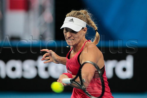 6th January 2018, Perth Arena, Perth, Australia; MasterCard Hopman Cup Tennis Final; Angelique Kerber of Team Germany plays a forehand shot against Belinda Bencic of Team Switzerland during the second set of the Final Kerber won 2 sets to 0