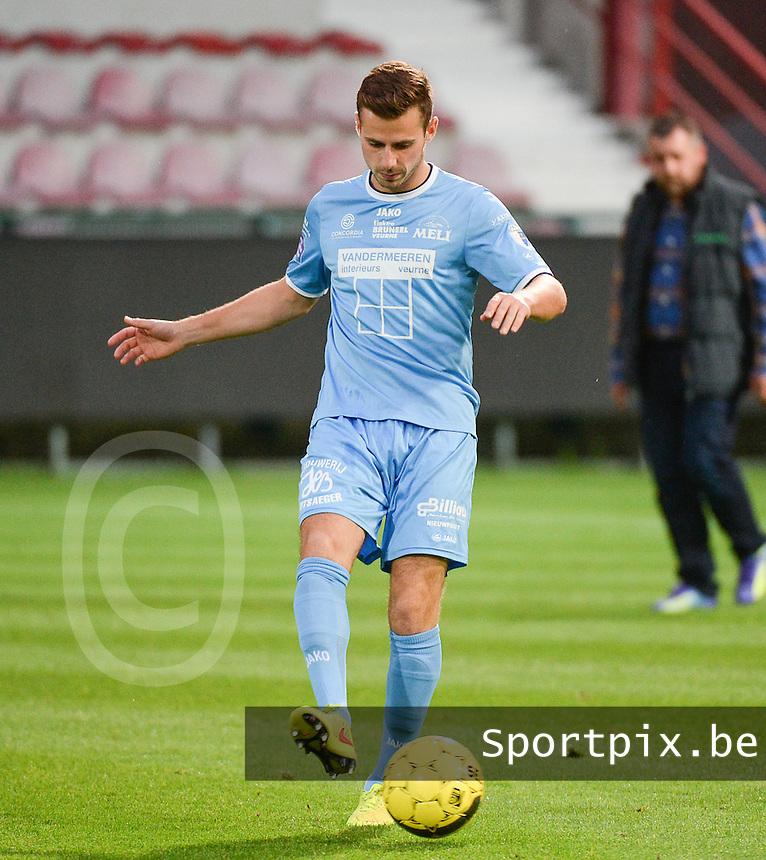 20150902 – KORTRIJK , BELGIUM : Koksijde 's Nicolas Tamsin pictured during a friendly match between Belgian first division team KV Kortrijk and Belgian second division soccer team KVV Coxyde Koksijde , during the international September break , Wednesday 2nd September 2015 in Kortrijk . PHOTO DAVID CATRY