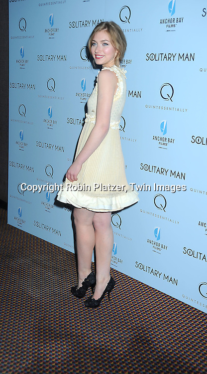 """actress Imogen Poots attending  The New York Premiere of """"Solitary Man"""" starring Michael Douglas, Jenna Fischer, Imogen Poots at Cinema 2 on May 11, 2010 in New York City."""
