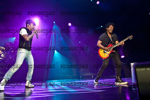 JOURNEY - voalist Arnel Pineda performing live at The San Manuel Amphitheatre in Devore, CA USA - July 21, 2012.  Photo © Kevin Estrada / Iconicpix