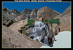 Chasm Falls and the 'Diamond' rock face on Longs Peak (14259 feet) in Rocky Mountain National Park, Colorado.<br />