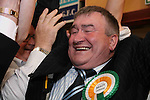 Sitting Fine Fail TD Johnny Brady celebrating his election after the second count at The Counting Station, Navan...Photo NEWSFILE/Jenny Matthews.(Photo credit should read Jenny Matthews/NEWSFILE)....This Picture has been sent you under the condtions enclosed by:.Newsfile Ltd..The Studio,.Millmount Abbey,.Drogheda,.Co Meath..Ireland..Tel: +353(0)41-9871240.Fax: +353(0)41-9871260.GSM: +353(0)86-2500958.email: pictures@newsfile.ie.www.newsfile.ie.FTP: 193.120.102.198.