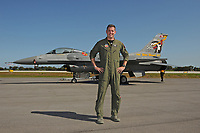 FORT LAUDERDALE FL - MAY 04: Maj John Waters stands next too U.S. Air Force F-16 Viper as it sits on the tarmac at Fort Lauderdale Executive Airport during Fort Lauderdale Air Show Media day on May 4, 2017 in Fort Lauderdale, Florida. :Credit: mpi04/MediaPunch