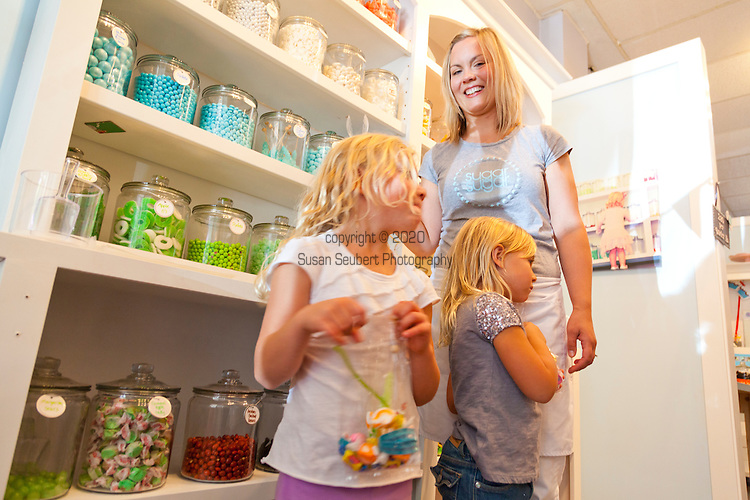 Kids shopping for candy at Sugar Sugar in Salem, Oregon.