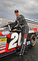 May 31, 2008; Dover, DE, USA; Nascar Nationwide Series driver Joey Logano during the Heluva Good 200 at the Dover International Speedway. Mandatory Credit: Mark J. Rebilas-