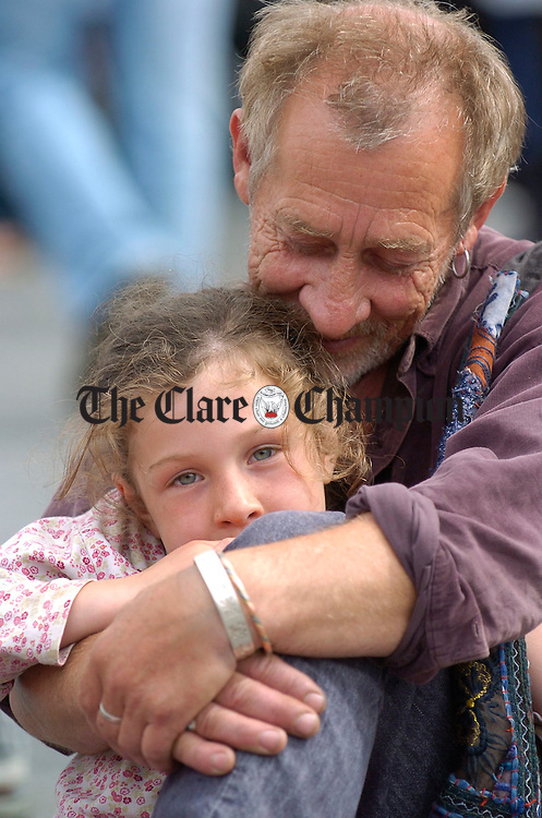 My Girl....Sean Kerin and his daughter Brona pictured during the street carnival in Ennis market on Sunday. Photograph by John Kelly.