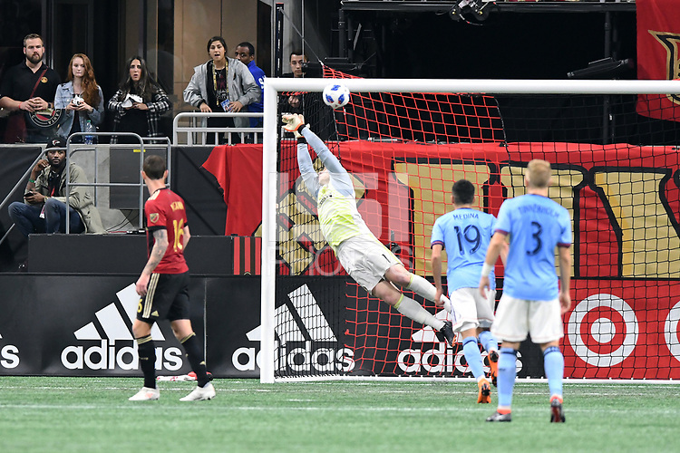 Atlanta, Georgia - Sunday April 15, 2018: Atlanta United and NYCFC played to a 2-2 draw, in front of a crowd of 45,001 at Mercedes-Benz Stadium.