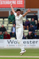 Josh Tongue of Worcestershire celebrates taking the wicket of Ryan ten Doeschate during Worcestershire CCC vs Essex CCC, Specsavers County Championship Division 1 Cricket at Blackfinch New Road on 11th May 2018