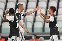 Paulo Dybala of Juventus celebrates after scoring a goal with Leonardo Bonucci<br /> during the Serie A football match between Juventus FC and US Lecce at Juventus stadium in Turin  ( Italy ), June 26th, 2020. Play resumes behind closed doors following the outbreak of the coronavirus disease. Photo Andrea Staccioli / Insidefoto