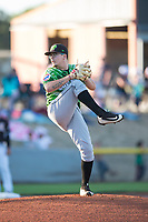 Eugene Emeralds starting pitcher Faustino Carrera (9) delivers a pitch during a Northwest League game against the Salem-Keizer Volcanoes at Volcanoes Stadium on August 31, 2018 in Keizer, Oregon. The Eugene Emeralds defeated the Salem-Keizer Volcanoes by a score of 7-3. (Zachary Lucy/Four Seam Images)