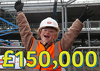 Pictured: Elly Neville celebrating reaching £150000<br /> Re: Seven-year-old Elly Neville who was born despite doctors saying her parents would not be able to have any more children, has raised over £150,000 for the cancer ward that treated her father.<br /> Her parents Lyn and Ann had been told they were unlikely to have more children after he underwent a bone marrow transplant in 2005. <br /> Mr Neville subsequently spent a lot of time on the Ward 10 cancer facility at Withybush Hospital in Haverfordwest, Pembrokeshire.<br /> But four years later they were stunned when his painter and decorator wife Ann fell pregnant again.