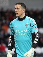 Jamie Langfield wearing gloves bearing his name in the St Mirren v Aberdeen Clydesdale Bank Scottish Premier League match played at St Mirren Park, Paisley on 9.11.12.