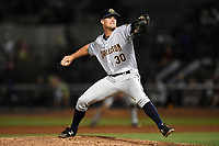 Pitcher Hobie Harris (30) of the Charleston RiverDogs delivers a pitch in a game against the Columbia Fireflies on Friday, June 9, 2017, at Spirit Communications Park in Columbia, South Carolina. Columbia won, 3-1. (Tom Priddy/Four Seam Images)