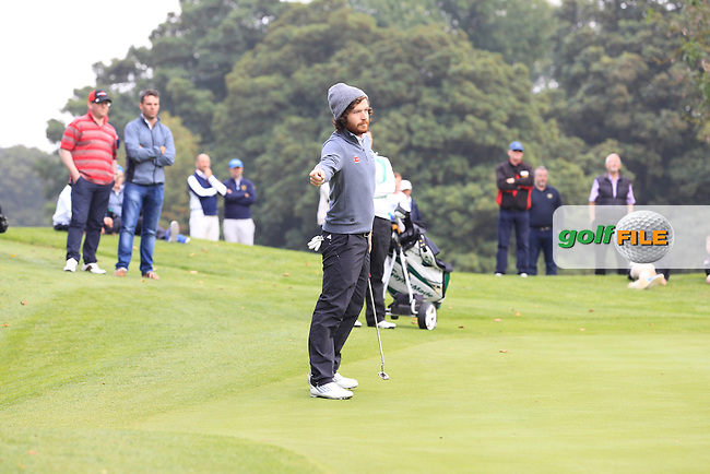 Ryan Gribben (Warrenpoint) on the 12th during the AIG Barton Shield Final between Warrenpoint &amp; Muskerry in the AIG Cups &amp; Shields at Carton House on Thursday 18th September 2014.<br /> Picture:  Thos Caffrey / www.golffile.ie