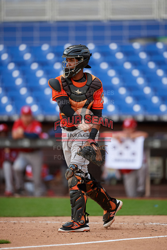 Miami Marlins catcher Luis Arcaya (83) throws during a Florida Instructional League game against the Washington Nationals on September 26, 2018 at the Marlins Park in Miami, Florida.  (Mike Janes/Four Seam Images)