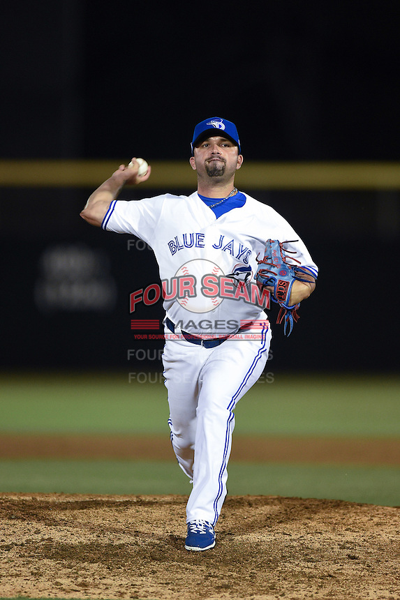 Dunedin Blue Jays pitcher Tiago Da Silva (41) delivers a pitch during a game against the Clearwater Threshers on April 10, 2015 at Florida Auto Exchange Stadium in Dunedin, Florida.  Clearwater defeated Dunedin 2-0.  (Mike Janes/Four Seam Images)