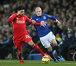 Emre Can of Liverpool tussles with Steven Naismith of Everton - Barclays Premier League - Everton vs Liverpool - Goodison Park Stadium  - Liverpool - England - 7th February 2015 - Picture Simon Bellis/Sportimage