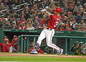 Washington Nationals right fielder Bryce Harper (34) hits a first inning home run against the New York Mets at Nationals Park in Washington, D.C. on Sunday, April 8, 2018.<br /> Credit: Ron Sachs / CNP<br /> (RESTRICTION: NO New York or New Jersey Newspapers or newspapers within a 75 mile radius of New York City)