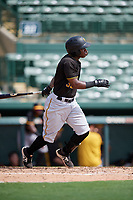Pittsburgh Pirates second baseman Rodolfo Castro (32) follows through on a swing during a Florida Instructional League game against the Baltimore Orioles on September 22, 2018 at Ed Smith Stadium in Sarasota, Florida.  (Mike Janes/Four Seam Images)