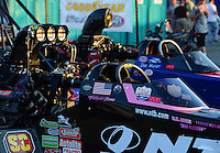 Oct. 5, 2012; Mohnton, PA, USA: NHRA top fuel dragster driver Dom Lagana (front) and Ike Maier during qualifying for the Auto Plus Nationals at Maple Grove Raceway. Mandatory Credit: Mark J. Rebilas-