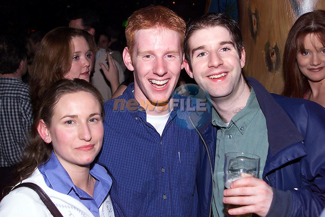 Lisa Smith, Aidan Townley and Darren Kelly enjoying a night out in Earth nightclub..Picture Paul Mohan Newsfile